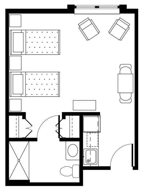 Deluxe studio furnished layout