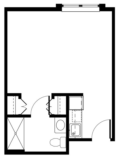Deluxe studio un-furnished layout